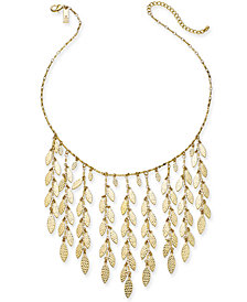 "I.N.C. Gold-Tone Shaky Leaf Statement Necklace, 19"" + 3"" extender, Created for Macy's"