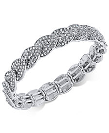 I.N.C. Silver-Tone Pavé Stretch Bracelet, Created for Macy's