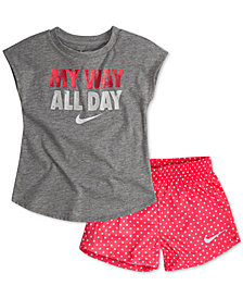 Nike Little Girls 2-Pc. Graphic-Print T-Shirt & Printed Shorts Set