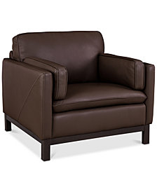 "Ventroso 39"" Leather Armchair, Created for Macy's"