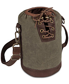 Picnic Time Insulated Khaki Green & Brown Growler Tote