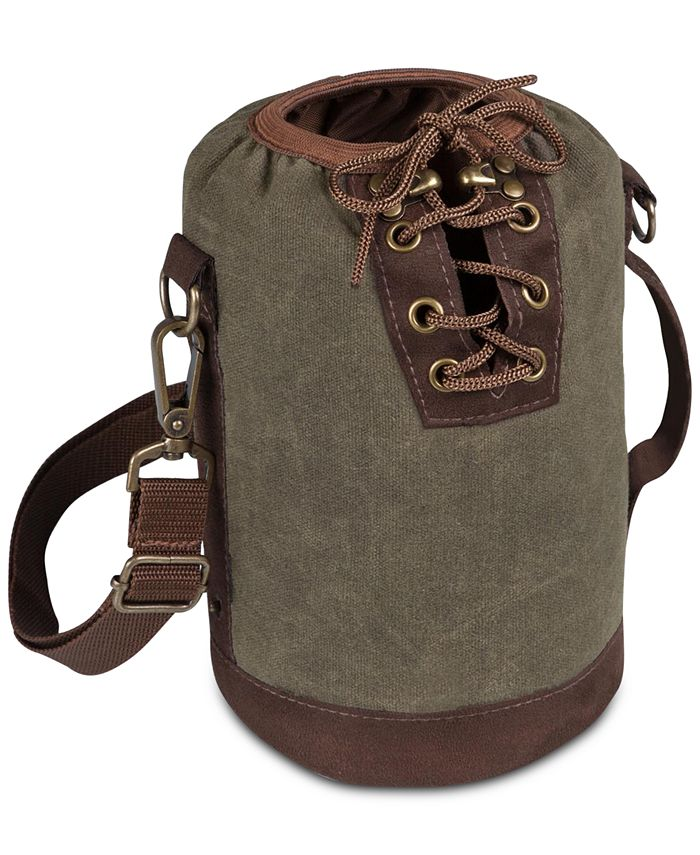 Picnic Time - Insulated Khaki Green & Brown Growler Tote