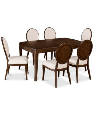 CLOSEOUT! Delfina Dining Furniture, 7-Pc. Set (Expandable Leg Dining Table & 6 Side Chairs), Created for Macy's