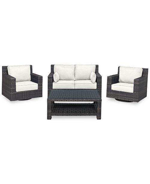 Phenomenal Viewport Outdoor Wicker 4 Pc Seating Set 1 Loveseat 2 Swivel Gliders 1 Coffee Table With Custom Sunbrella Colors Created For Macys Alphanode Cool Chair Designs And Ideas Alphanodeonline
