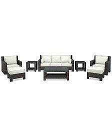 Viewport Outdoor Wicker 6-Pc. Seating Set (1 Sofa, 1 Club Chair, 1 Swivel Glider, 2 Ottomans & 1 Coffee Table) with Custom Sunbrella® Colors Created for Macy's