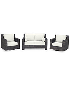 Viewport Outdoor Wicker 3-Pc. Seating Set (1 Loveseat & 2 Swivel Gliders) with Custom Sunbrella® Colors, Created for Macy's