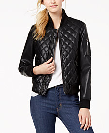 French Connection Diamond-Quilted Faux-Leather Bomber Jacket