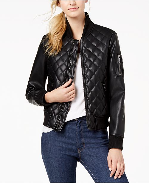 42c4c230f French Connection Diamond-Quilted Faux-Leather Bomber Jacket ...