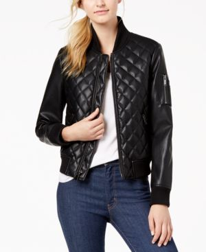 DIAMOND-QUILTED FAUX-LEATHER BOMBER JACKET