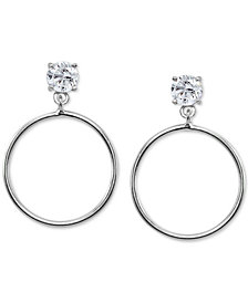 "Giani Bernini Medium Cubic Zirconia Drop Hoop Earrings in Sterling Silver, 1.3"", Created for Macy's"