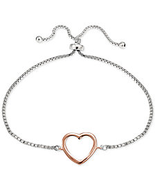 Giani Bernini Open Heart Slider Bracelet in Sterling Silver, & 18k Rose Gold-Plate, Created for Macy's