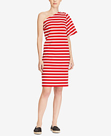 Lauren Ralph Lauren One-Shoulder Cotton Dress