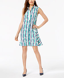 Alfani Striped Sleeveless Shirtdress, Created for Macy's
