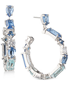 Carolee Silver-Tone Crystal Drop Hoop Earrings