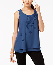 Alfani Petite Sleeveless Appliqué Top, Created for Macy's