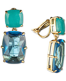 Carolee Gold-Tone Crystal Clip-On Double Drop Earrings