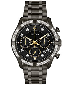 Men's Chronograph Diamond-Accent Gunmetal Stainless Steel Bracelet Watch 42mm, Created for Macy's