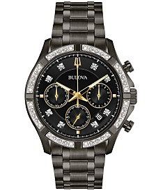 Bulova Men's Chronograph Diamond-Accent Gunmetal Stainless Steel Bracelet Watch 42mm, Created for Macy's