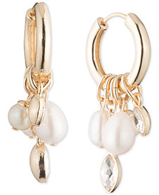 Carolee Gold-Tone Crystal & Imitation Pearl Charm Hoop Earrings