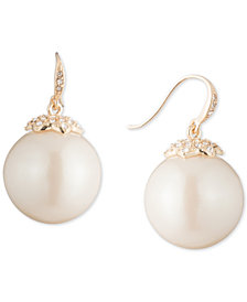 Carolee Gold-Tone Crystal & Imitation Pearl Drop Earrings