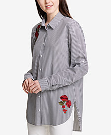 Calvin Klein Striped Embroidered Button-Down Top