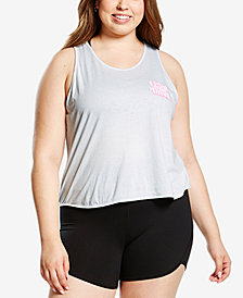 Soffe Plus Size Graphic Racerback Cropped Tank Top