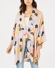 Say What? Juniors' Tie-Front Bouquet-Print Kimono