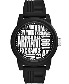 A|X Armani Exchange Men's Black Silicone Strap Watch 46mm