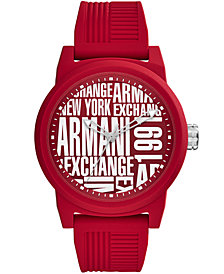 A|X Armani Exchange Men's Red Silicone Strap Watch 46mm