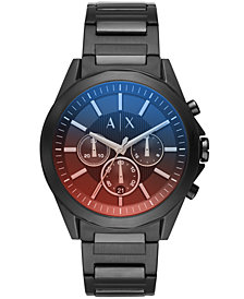 A|X Armani Exchange Men's Chronograph Black Stainless Steel Bracelet Watch 44mm