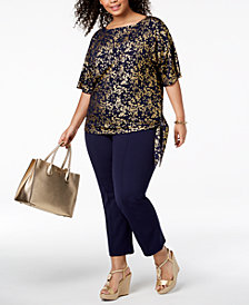MICHAEL Michael Kors Plus Size Metallic-Print Side-Tie Top & Side-Zip Ankle Pants