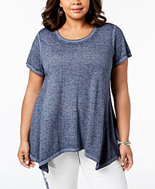 Style & Co Plus Size Burnout Handkerchief-Hem T-Shirt, Created for Macy's