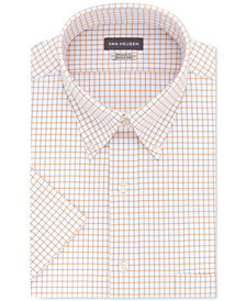 Van Heusen Men's Classic-Fit Check Short Sleeve Dress Shirt