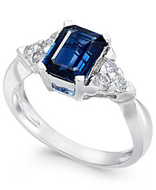 Sapphire (1-3/4 ct. t.w.) & Diamond (1/4 ct. t.w.) Ring in 14k White Gold
