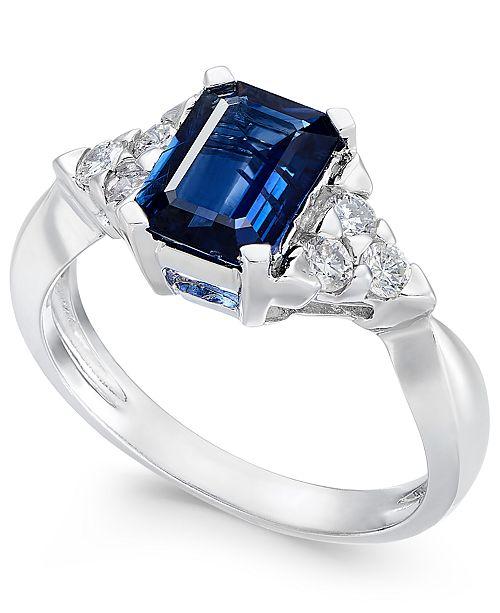 Macy's Sapphire (1-3/4 ct. t.w.) & Diamond (1/4 ct. t.w.) Ring in 14k White Gold