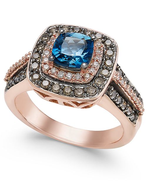 Chocolatier London Blue Topaz (1 ct. t.w.) and Diamond (3/4 ct. t.w.) Ring in 14k Rose Gold