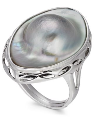 Mabé Blister Pearl (18 x 28mm) Statement Ring in Sterling Silver