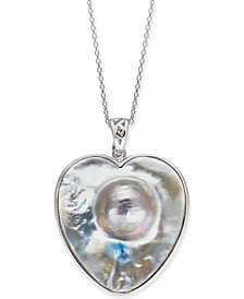 "Mabé Blister Pearl (33 x 30mm) Heart 24"" Pendant Necklace in Sterling Silver"