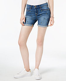 Tommy Hilfiger Embroidered Denim Shorts, Created for Macy's