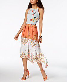 Laundry by Shelli Segal Mixed-Print Midi Dress