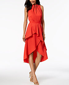 Laundry by Shelli Segal Ruffled High-Low Midi Dress