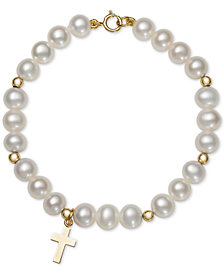 Children's Cultured Freshwater Pearl (5mm) Cross Charm Bracelet in 14k Gold