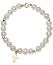 18a0c9939 Children's Cultured Freshwater Pearl (5mm) Cross Charm Bracelet in 14k Gold