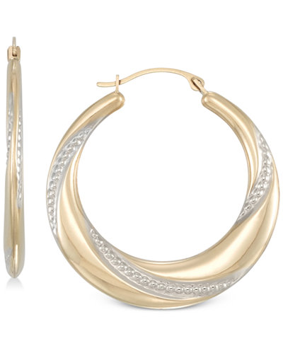 Two-Tone Polished & Textured Hoop Earrings in 10k Gold & White Gold