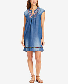 Vintage America Dia Embroidered Chambray Shift Dress