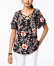 JM Collection Printed Ruffled Cold-Shoulder Top, Created for Macy's