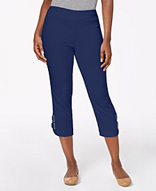 JM Collection Petite Buckle-Hem Capri Pants, Created for Macy's