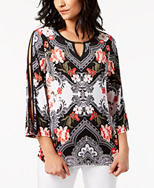 JM Collection Petite Split-Sleeve Tunic, Created for Macy's