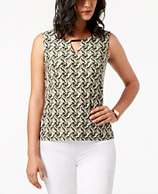 JM Collection Printed Keyhole Jacquard Top, Created for Macy's