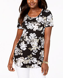 JM Collection Petite Metallic Floral-Print Top, Created for Macy's